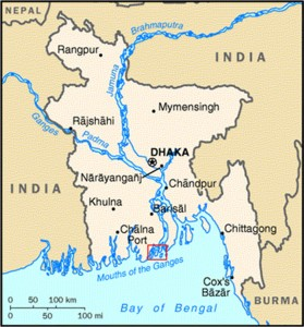 Location of Katakhali village on Barabaishdia Island