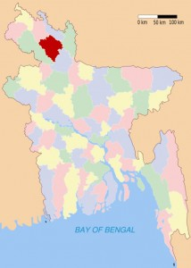 Samhati's Project in Laxmichap Union, Rangpur (location marked in red)