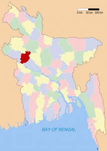 Location of Natore District in Northwest Bangladesh (marked in Red)